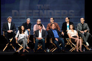 "(Top row) Creator/writer/executive producer Niels Mueller, creator/writer/executive producer Kevin Kennedy, executive producer Carol Mendelsohn, executive producer/ show runner Greg Walker, executive producers Joe Gantz and Harry Gantz; (2nd row) actors Jurnee Smollett, Jerry O'Connell, Jim Belushi and Tanya Fischer speaks at ""The Defenders"" panel during 2010 Summer TCA Tour Day 1 at the Beverly Hilton Hotel on July 28, 2010 in Beverly Hills, California."