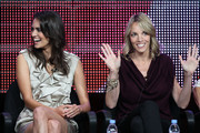 """TV personalities Tracy Ryerson and Nikki Weiss speak onstage during """"The Real L Word"""" panel during the 2010 Summer TCA Tour Day 2 at the Beverly Hilton Hotel  on July 29, 2010 in Beverly Hills, California."""