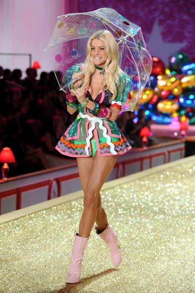 Model Jessica Stam walks the runway during the 2010 Victoria's Secret Fashion Show at the Lexington Avenue Armory on November 10, 2010 in New York City.