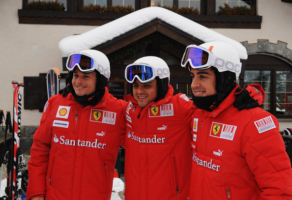 (L-R) Giancarlo Fisichella; Felipe Massa of Brazil and Fernando Alonso of Spain and Ferrari pose for a photo during the Wroom 2010 on January 12, 2010 in Madonna di Campiglio, Italy.