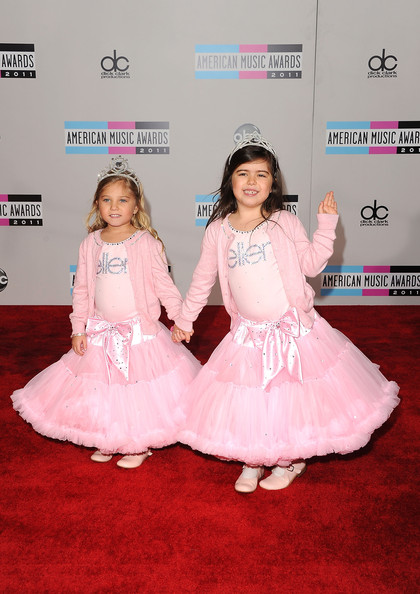YouTube stars Sophia Grace Brownlee and Rosie Brownlie arrive at the 2011 American Music Awards held at Nokia Theatre L.A. LIVE on November 20, 2011 in Los Angeles, California.