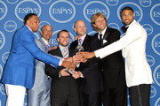 NBA Dallas Mavericks Shawn Marion, Jason Kidd, Jose Juan Barea, Dirk Nowitzki and Tyson Chandler poses in the press room at The 2011 ESPY Awards at Nokia Theatre L.A. Live on July 13, 2011 in Los Angeles, California.