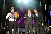 Musician Jimmy Zambrano, singers Jorge Celedon, and Victor Manuelle perform onstage during the 2011 Latin Recording Academy's Person of the Year honoring Shakira at Mandalay Bay Resort & Casino on November 9, 2011 in Las Vegas, Nevada.