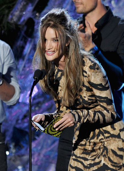 Actress Rosie Huntington-Whiteley speaks onstage during the 2011 MTV Movie Awards at Universal Studios' Gibson Amphitheatre on June 5, 2011 in Universal City, California.