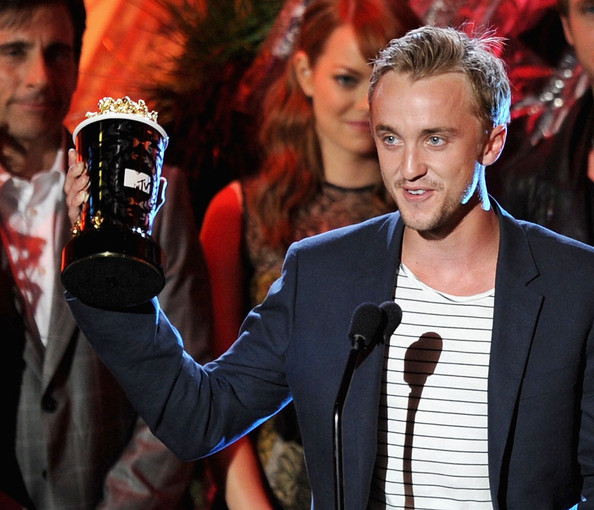 Actor Tom Felton accepts the Best Villain award onstage during the 2011 MTV Movie Awards at Universal Studios' Gibson Amphitheatre on June 5, 2011 in Universal City, California.