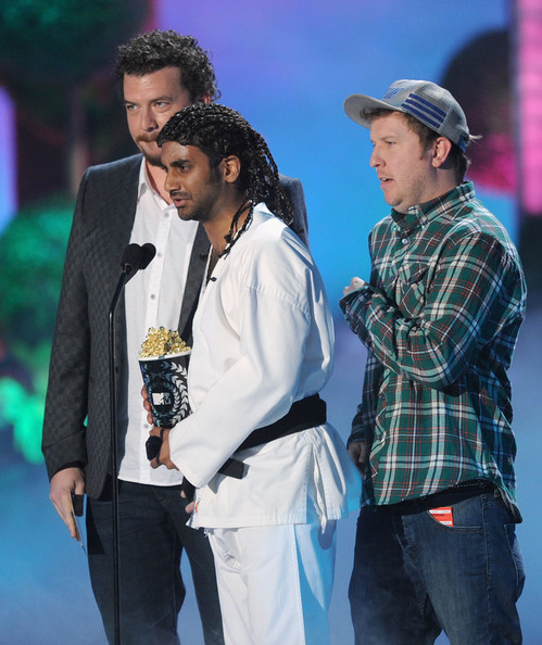 (L-R) Actors Danny McBride, Nick Swardson, and Aziz Ansari speak onstage during the 2011 MTV Movie Awards at Universal Studios' Gibson Amphitheatre on June 5, 2011 in Universal City, California.