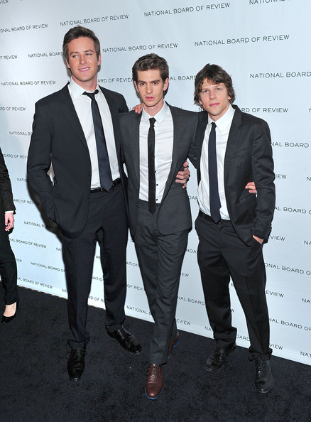 (L-R) Actors Armie Hammer, Andrew Garfield and Jesse Eisenberg attend the 2011 National Board of Review of Motion Pictures Gala at Cipriani 42nd Street on January 11, 2011 in New York City.
