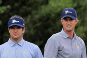 (L-R) Bubba Watson and Webb Simpson of the U.S. Team look on from the sixth tee during the Day Three Afternoon Four-Ball Matches of the 2011 Presidents Cup at Royal Melbourne Golf Course on November 19, 2011 in Melbourne, Australia.