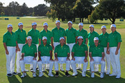 Members of the U.S. Team pose for a team photo during a practice round prior to the start of the 2011 Presidents Cup at Royal Melbourne Golf Course on November 15, 2011 in Melbourne, Australia.
