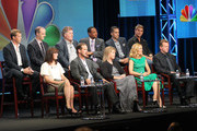(Top L-R) Actors Tim Griffin, Brian F. O'Byrne, Peter Gerety, Damon Gupton, Kirk Acevedo and Kenny Johnson (Bottom L-R) Executive Producers Sarah Aubrey, Peter Berg and Alexandra Cunningham and actors Maria Bello and Aidan Quinn speak during the 'Prime Suspect' panel during the NBC Universal portion of the 2011 Summer TCA Tour held at the Beverly Hilton Hotel on August 1, 2011 in Beverly Hills, California.