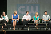(L-R) Executive Producer Gina Girolamo, actors Natasha Henstridge, Gale Harold, Britt Robertson and Thomas Dekker speak during 'The Secret Circle' panel during the CW portion of the 2011 Summer TCA Tour held at the Beverly Hilton Hotel on August 4, 2011 in Beverly Hills, California.