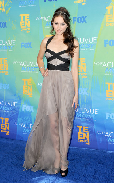 Actress Troian Bellisario arrives at the 2011 Teen Choice Awards held at the Gibson Amphitheatre on August 7, 2011 in Universal City, California.