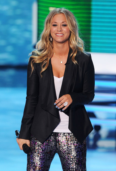 Host Kaley Cuoco speaks onstage during the 2011 Teen Choice Awards held at the Gibson Amphitheatre on August 7, 2011 in Universal City, California.