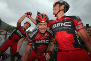 George Hincapie (R) of the USA riding for BMC Racing celebrates his victory with teammate Cadel Evans (C) of Australia and Jeff Louder (L) of the USA in stage two of the 2011 USA Pro Cycling Challenge from Gunnison to Aspen on August 24, 2011 in Aspen, Colorado.