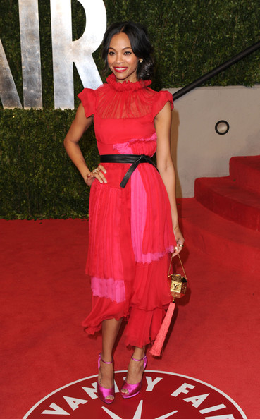 Actress Zoe Saldana arrives at the Vanity Fair Oscar party hosted by Graydon Carter held at Sunset Tower on February 27, 2011 in West Hollywood, California.