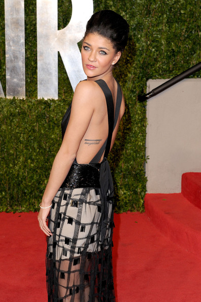 Actress Jessica Szohr arrives at the Vanity Fair Oscar party hosted by Graydon Carter held at Sunset Tower on February 27, 2011 in West Hollywood, California.