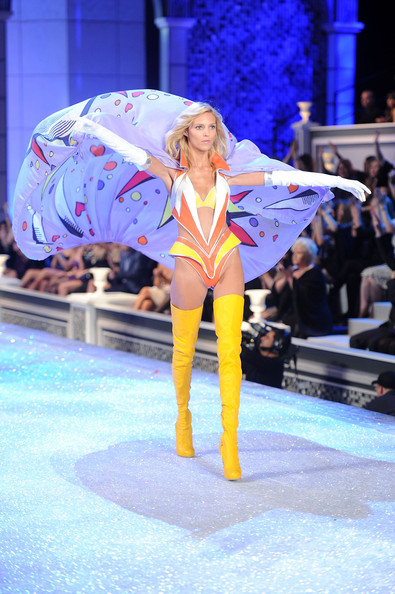 Model Anja Rubik walks the runway during the 2011 Victoria's Secret Fashion Show at the Lexington Avenue Armory on November 9, 2011 in New York City.