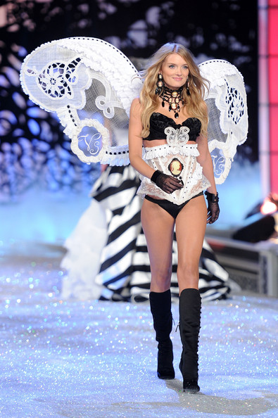 Model Lily Donaldson walks the runway during the 2011 Victoria's Secret Fashion Show at the Lexington Avenue Armory on November 9, 2011 in New York City.