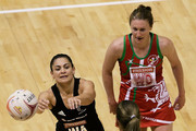 Temepara George of New Zealand makes a pass to Irene Van Dyk of New Zealand during the match between New Zealand and Wales on day three of the 2011 World Netball Championships at Singapore Indoor Stadium on July 5, 2011 in Singapore.