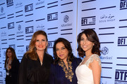 "(L-R) Yosra, filmmaker Mira Nair and actress/singer  Meesha Shafi attend the opening night ceremony and gala screening of ""The Reluctant Fundamentalist"" during the 2012 Doha Tribeca Film Festival at Al Mirqab Hotel on November 17, 2012 in Doha, Qatar."