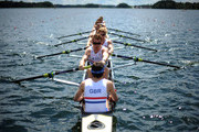 (Front to Back) Cox, Maximilian Gander, James Edwards, James Cook, Alexander Davidson, Oliver Cook, Adam Janes, Samuel Arnot, Ertan Hazine and Cameron MacRitchie of Great Britain in the Mens Eight Repechage during Day 3 of the 2012 FISA World Rowing U23 Championships on July 13, 2012 in Trakai, Lithuania.