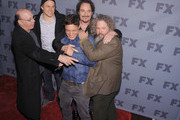 (L-R) Actors Dayton Callie, Charlie Hunnam, Theo Rossi, Kim Coates and Mark Boone Jr. attend the 2012 FX Ad Sales Upfront at Lucky Strike on March 29, 2012 in New York City.