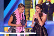 Actress Heather Morris (L) and 2012 HALO Award Honoree Allyson Ahlstrom speak onstage at Nickelodeon's 2012 TeenNick HALO Awards at Hollywood Palladium on November 17, 2012 in Hollywood, California. The show premieres on Monday, November 19th, 8:00p.m. (ET) on Nick at Nite.