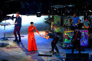 Rihanna performs with Will Champion, Chris Martin, Jonny Buckland and Guy Berryman of Coldplay during the closing ceremony on day 11 of the London 2012 Paralympic Games at Olympic Stadium on September 9, 2012 in London, England.