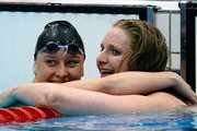 Heather Frederiksen (R) of Great Britain is congratulated by Jessica Long of the United States after winning the gold in the Women's 100m Backstroke - S8 final on day 6 of the London 2012 Paralympic Games at Aquatics Centre on September 4, 2012 in London, England.