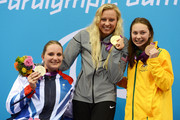 (L-R) Silver medallist Heather Frederiksen of Great Britain, gold medallist Jessica Long of the United States and bronze medallist Maddison Elliott of Australia pose on the podium during the medal ceremony for the Women's 100m Freestyle - S8 final on day 8 of the London 2012 Paralympic Games at Aquatics Centre on September 6, 2012 in London, England.