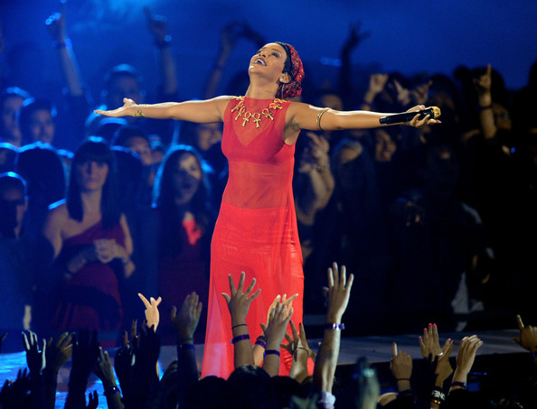 Singer Rihanna performs onstage during the 2012 MTV Video Music Awards at Staples Center on September 6, 2012 in Los Angeles, California.
