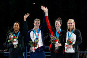(L-R) Lia Neal, Allison Schmitt, Missy Franklin and Jessica Hardy celebrate during the medal ceremony for the W;men's 100 m Freestyle during Day Six of the 2012 U.S. Olympic Swimming Team Trials at CenturyLink Center on June 30, 2012 in Omaha, Nebraska.