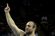Tervel Dlagnev celebrates his win over Les Sigman in the 120 kg freestyle weight class during the finals of the US Wrestling Olympic Trials at Carver Hawkeye Arena on April 22, 2012 in Iowa City, Iowa.