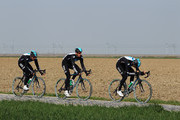 Juan Antonio Flecha of Spain and SKY Pro Cycling leads team mates Mathew Hayman of Australia and Ian Stannard of Great Britain during training for the 2012 Paris - Roubaix Cycle Race on April 6, 2012 in Roubaix, France.
