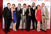 "(L-R) Co-creator Carter Bays, Cobie Smulders, co-creator Craig Thomas, Josh Radnor, Executive Producer Pamela Fryman, Jason Segel, Alyson Hannigan and Neil Patrick Harris pose with Favorite Network TV Comedy Award for ""How I Met Your Mother"" in the press room during the 2012 People's Choice Awards at Nokia Theatre L.A. Live on January 11, 2012 in Los Angeles, California."