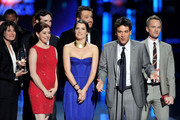 "(L-R) Actors Alyson Hannigan, Cobie Smulders, Jason Segel, Josh Radnor and Neil Patrick Harris accept Favorite Network TV Comedy Award for ""How I Met Your Mother"" onstage at the 2012 People's Choice Awards at Nokia Theatre L.A. Live on January 11, 2012 in Los Angeles, California."