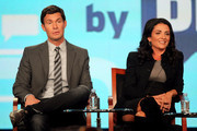 Designer Jeff Lewis (L) and producer Jenni Pulos speak onstage during the 'Interior Therapy With Jeff Lewis' panel during the Bravo NBCUniversal portion of the 2012 Winter TCA Tour at The Langham Huntington Hotel and Spa on January 7, 2012 in Pasadena, California.