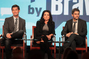 (L-R) Designer Jeff Lewis, producer Jenni Pulos, and executive producer Andrew Hoegl speak onstage during the 'Interior Therapy With Jeff Lewis' panel during the Bravo NBCUniversal portion of the 2012 Winter TCA Tour at The Langham Huntington Hotel and Spa on January 7, 2012 in Pasadena, California.