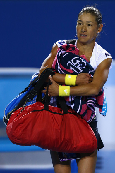 Kimiko Date-Krumm of Japan leaves the court after losing her third round match against Bojana Jovanovski of Serbia  during day six of the 2013 Australian Open at Melbourne Park on January 19, 2013 in Melbourne, Australia.