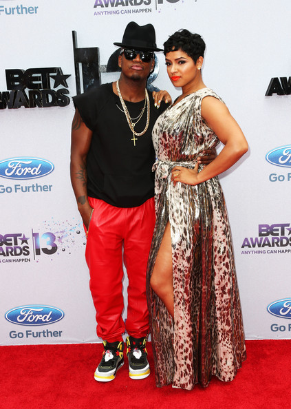 Singer Ne-Yo (L) and Monyetta Shaw attend the 2013 BET Awards at Nokia Theatre L.A. Live on June 30, 2013 in Los Angeles, California.