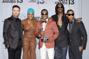 (L-R) Musicians Justin Timberlake, India.Arie, BET Lifetime Achievement Award recipient musician Charlie Wilson, rapper Snoop Lion (formerly Snoop Dogg) and Pharrell Williams in the Backstage Winner's Room at Nokia Theatre L.A. Live on June 30, 2013 in Los Angeles, California.