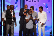 (L-R) Actor Duane Martin, J.B. Smoove, Boris Kodjoe, Kevin Hart, Nelly, and Nick Cannon speak onstage during the 2013 BET Awards at Nokia Theatre L.A. Live on June 30, 2013 in Los Angeles, California.