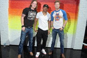 Nelly (C) poses with Tyler Hubbard (L) and Brian Kelley of Florida Georgia Line during the 2013 CMT Music Awards Rehearsals Day 1 at Bridgestone Arena on June 3, 2013 in Nashville, Tennessee.