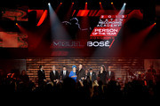 (L-R)  President and CEO of the Latin Recording Academy Gabriel Abaroa, Recording Academy President/CEO Neil Portnow, recording artist Juanes, actress Lucia Bose, honoree Miguel Bose, recording artist Alejandro Sanz and Chairman of the Latin Recording Academy Luis Cobos onstage during the 2013 Latin Recording Academy Person Of The Year honoring Miguel Bose at the Mandalay Bay Events Center on November 20, 2013 in Las Vegas, Nevada.