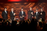(L-R) President and CEO of the Latin Recording Academy Gabriel Abaroa, Recording Academy President/CEO Neil Portnow, recording artist Juanes, honoree Miguel Bose, recording artist Alejandro Sanz and Chairman of the Latin Recording Academy Luis Cobos speak onstage during the 2013 Latin Recording Academy Person Of The Year honoring Miguel Bose at the Mandalay Bay Events Center on November 20, 2013 in Las Vegas, Nevada.