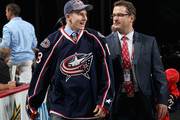 Dillon Heatherington, drafted #50 overall by the Columbus Blue Jackets, reacts after he was drafted in the second round during the 2013 NHL Draft at the Prudential Center on June 30, 2013 in Newark, New Jersey.