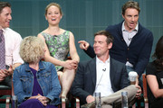 """(Back row: L-R) Actors Sam Jaeger, Erika Christensen, Dax Shepard,(Front row: L-R) Monica Potter, and Peter Krause speak onstage during the """"Parenthood"""" panel discussion at the NBC portion of the 2013 Summer Television Critics Association tour - Day 4 at the Beverly Hilton Hotel on July 27, 2013 in Beverly Hills, California."""
