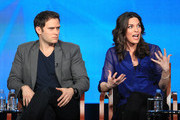"""Actors Steven Pasquale (L) and Alana De La Garza speak onstage at the """"Do No Harm"""" panel session during the NBCUniversal portion of the 2013 Winter TCA Tour- Day 3 at the Langham Hotel on January 6, 2013 in Pasadena, California."""