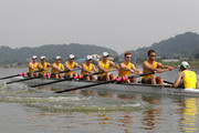 John Price, John McDonnell, Timothy Widdicombe, Alister Foot, Blair Tunevitsch, Darryn Purcell, Nicholas Silcox, Simon Nola and Timothy Webster of Australia compete in the Lightweight Men's Eight during day three of the 2013 World Rowing Championships on August 27, 2013 in Chungju, South Korea.