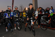 Tour De France cyclist George Hincapie (C) attends the 2014 Audi Best Buddies Challenge on October 18, 2014 in Washington, DC.